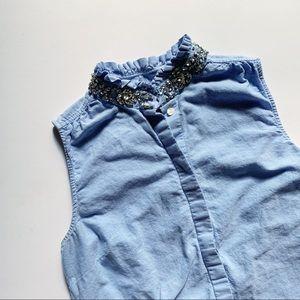 J Crew• denim blue cotton jewel collar button up